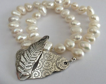 Silver Fern Double Wrap Pearl Bracelet