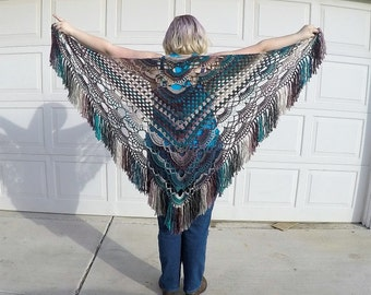 Magical Hippy Shawl Tealberry Wrap with Fringe Hand Crochet (Teal, Plum Purple, Suede)