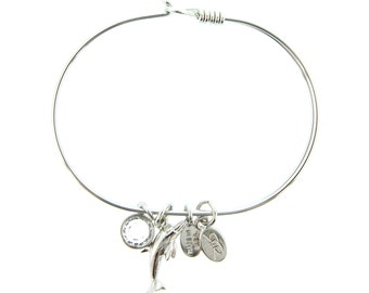 Silver Dolphin Bracelet with Swarovski Crystal