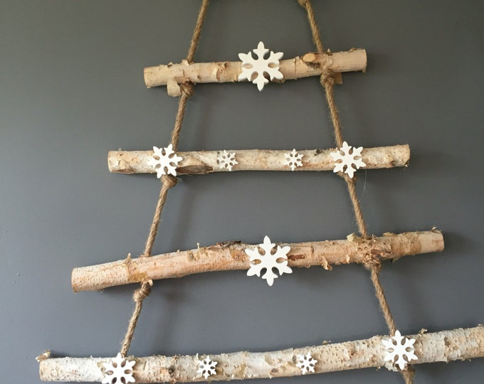 Featured listing image: Wooden Christmas tree wall hanging with or without snowflakes. Christmas decoration. Xmas decoration.