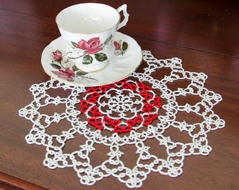 """Tatted Doily with 32 Red Hearts in a White Cloud """"Large Emma"""""""