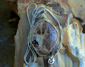Silver wire wrapped Petrified wood oval shape pendant fossil jewelry with necklace