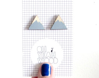 Mountain Earrings | Hand Painted in blue | Laser Cut | Hand Made |20mm