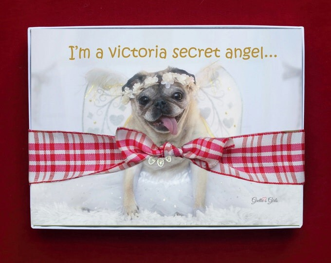 BOXED HOLIDAY Cards - Pug Holiday Cards - 5x7 - I'm A Victoria Secret Angel