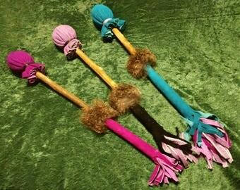Fancy Drum Beater, deer suede & rabbit fur on willow, regular or extra long, Custom Made