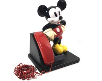 Working Vintage Mickey Mouse Desk Telephone with Push Button Dialing, Retro AT&T Touch Tone Phone