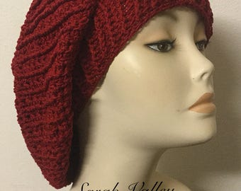 Knit red beret, cotton beret, knit slouchy ladies hat, baggy hat, Autumn beret, summer hat, spring knit hat, women's hat, gifts for her
