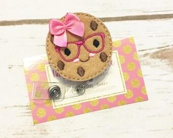 Nurse Badge Reel - Cookie - Mustache - Nurse Name Badge - Nurse Badge Reel- Nurse Badge Holder - Felt Badge Reel - Office Gift