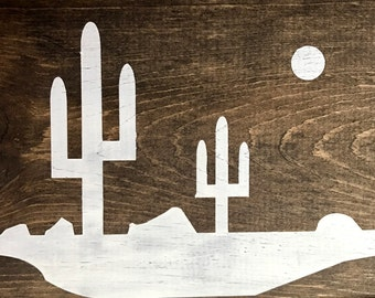 Saguaro Desert Wood Sign, Saguaro, Desert, Arizona, California, Wood Art, home decor, room decor, rustic, farmhouse