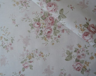"Half Yard of Lecien Fancy Fabric Collection Rose Bouquets on Antique Pink Background. Approx. 18"" x 44"" Made in Japan"