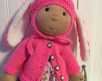 Bunny Doll hat and vest for 16' to 18' doll like American Girl and Waldorf