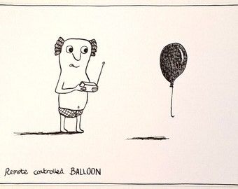 Remote Controlled Balloon -  an original drawing