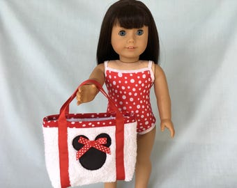 Minnie Mouse Bathing Suit and Beach Bag for American Girl/18 Inch Doll