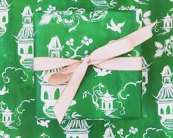Green Pagoda Chinoiserie Gift Wrap