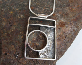 Silver round pendant - Sterling silver - Fine silver - Textured- - Silver jewelry - Contemporary - Handcrafted - Silver Necklace
