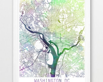 Washington D.C. City Urban Map Poster, Washington City Street Print, Watercolor Washington D.C. Modern Wall Art, Home Decor, Printable Art
