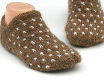Knit slipper socks, Handmade knitted slippers,  Wool camel slippers,  Winter slippers socks, Cozy, Undyed camel wool