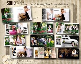12x12 Album template for photographers - Soho Wedding Album