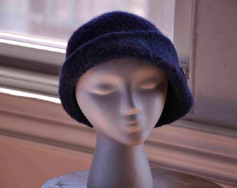 Felted women's wool hand-knit hat cloche in purple & blue-asymmetrical flap-Czech glass button-1920s Downton Abbey style-Twilight Cloche
