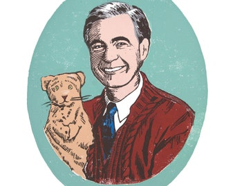 Mister Rogers, Linocut, Digital Print, 8 x 10, Children's Art