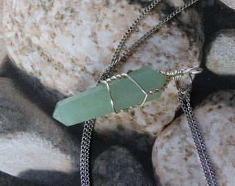Crystal Necklace, Gemstone Healing, Aventurine Necklace, Healing Stone, Aventurine Pendant, Stone for Healing, Meditation, Gift for Her