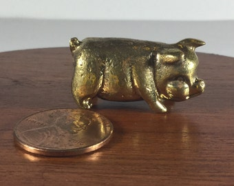 Miniature Figurine Brass Pig Animal Metalwork Art