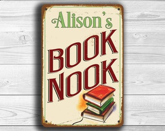 Custom BOOK NOOK SIGN, Customizable Book Nook Signs, Vintage style Book Nook Sign, Reading Room, Personalized Reading Nook Signs, Book Nook