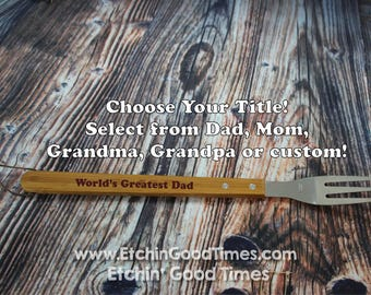 BBQ Fork - Personalized World's greatest Grill Fork, meat fork,BBQ fork, BBQ Tools, Mothers day  Fathers day, Groomsmen