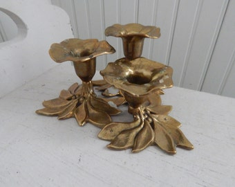 Hollywood Regency Triple Brass Flower Blossom Candlestick Holder - Candle Holder Made in Italy - Mid Century Brass Flower Candle Holder