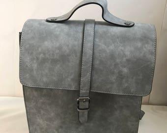 Vintage Vegan Leather Gray Backpack