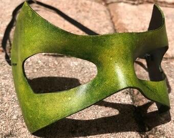 Green Leather Superhero Mask (Lantern, Arrow, Robin)