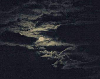 Moon in the clouds at night. photography. Digital photography. Photographic print. Photo. print.