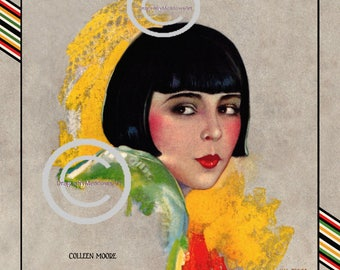 Colleen Moore Theatre Print, Hollywood Icon, Silent Screen, Flapper Actress, Art Deco Boarder, Hal Phyle, 1927, Giclee fine Art Print, 11x14