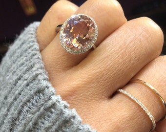 14 k White Gold Oval Morganite Peach Champagne Beige Diamond Halo Engagement Ring Vintage 12x10mm