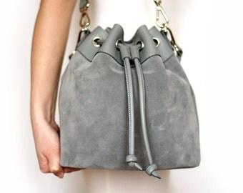 Free shipping! Gray bag, bucket bag, gray leather bag, woman bag, bucket bag, shoulder bag, suede bag, crossbody bucket bag, casual bag