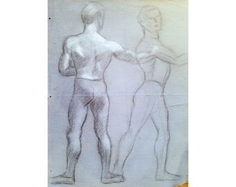 Male Ballet Dancer Charcoal Sketch 1939 by Joseph F. Kelly