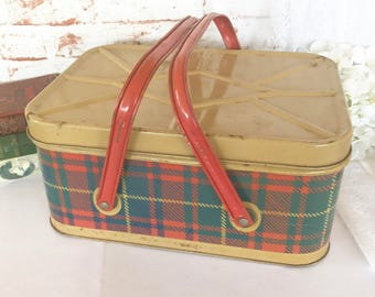 Huge Vintage Plaid Tin Lunchbox, Tartan Metal Picnic basket pail, kitchen storage, retro, 1950's Nesco Mid Century decorative argyle