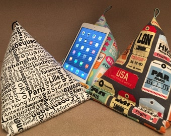 iPad pillow; IPad fabric stand; Tablet, E-reader soft holder; Gadget device furniture; Handmade Holiday gift idea
