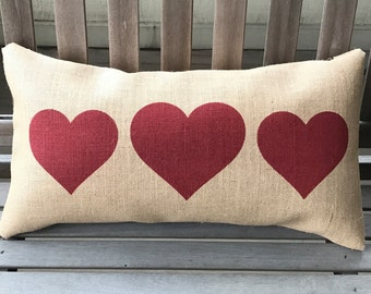 hearts burlap pillow valentines pillow heart decor gift for her ships within