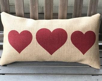 "Hearts Burlap Pillow - Valentines Pillow - Heart Decor - Gift for Her - Fits a 12"" x 22"" pillow insert"