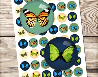 Butterfly digital collage sheet, blue butterfly, green pastell digital paper, jewelry making