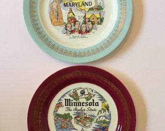Vintage Souvenir state plate- Minnesota and Maryland