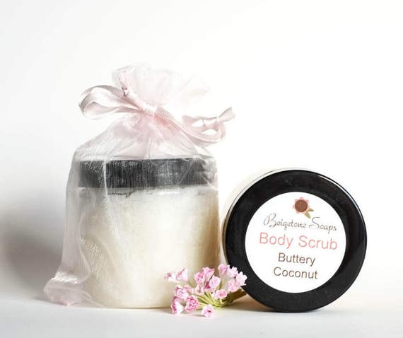 Coconut BODY Scrub | Shea Butter, Olive Oil, Bath Salts, Coconut Scent | Hydrates and Soothes Rough Dry Skin