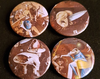 Hieronymus Bosch: Set of 4 25mm button badges featuring imagery from The Garden of Earthly Delights