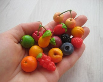 Miniature fruit and berries   from polymer clay