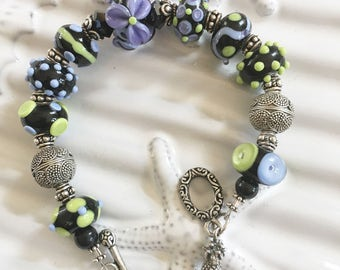 Handmade Purple and Black Lampwork Beaded Bracelet 8 Inches