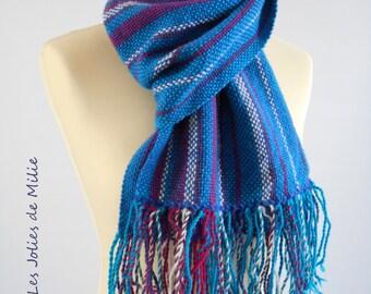 pink, blue, white  scarf, handwowen, wool