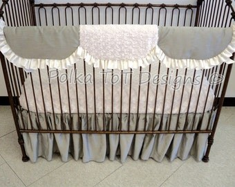 Elegant Bumper-free Gender Neutral Baby Bedding Faux Silk Platinum & Ivory: Trace
