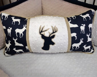 Taupe & White Deer Pillow  Lumbar style is perfect for chair