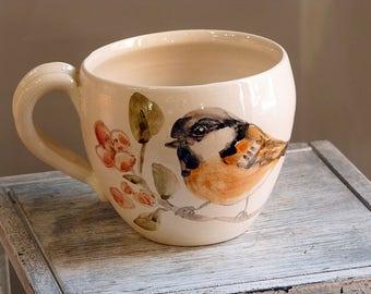 Handmade ceramic mug, pottery mug, Titmouse mug, coffee mug, Wheel Thrown Mug